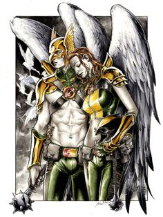 "saulone: ""Hawkman & Hawkgirl by Daniel Govar ECCC 2014 "" Arte Dc Comics, Fun Comics, Aquaman, Comic Books Art, Comic Art, Comic Pics, Book Art, Robert E Howard, Hq Dc"