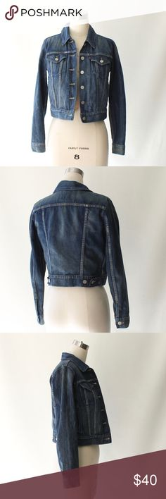 """Levis  Vintage Wash Trucker Denim Jean Jacket Levis medium-dark vintage wash denim trucker jacket. Side and chest pockets. 100% Cotton. Excellent condition.  Size Small Length 19"""" Sleeve 23.5"""" Levi's Jackets & Coats Jean Jackets"""