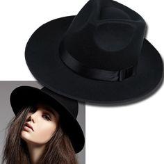 Phụ Nữ cổ điển Mũ Rộng Mũ Vành Ruy Băng Đen Ấm Wool Blend Cảm Thấy Hat Womens Mũ Rộng Mũ Vành D0451