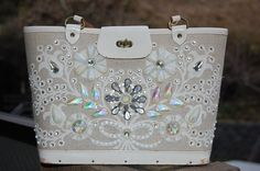 Enid Collins Jewel Bokay large canvas bag; white and cream