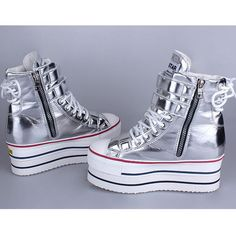 Womens Platform High Top Zip Fashion Sneakers Shoes Ankle Boots Silver US 5.5~9 Ebay