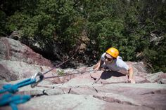 Patrick closes in on the top of Brinton's Crack (5.6). It's a looong way down!