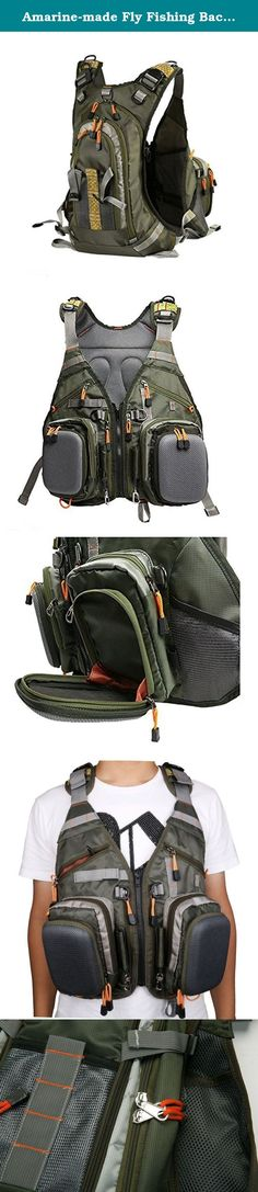 Amarine-made Fly Fishing Backpack Adjustable Size Mesh Fishing Vest Pack , Fly Fishing Vest and Backpack Combo. Combined with a vest-style backpack and a versatile backpack Adjustable One-size-fit-all size Two main molded pocket to hold and protect your flies Expandable main zippered three compartments backpack for storing fishing gear Light weight and water resistant fabric Lined with mesh to keep you cool Designed for a long day on the water, when you need to carry a lot of gears. This...