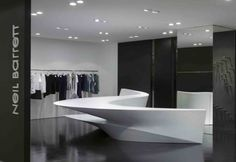Built by Zaha Hadid Architects in Seoul, Hong Kong, South Korea with date Images by Zaha Hadid Architects. Designed by Zaha Hadid Architects, the 'Shop in Shop' concept for Neil Barrett is based on a singular, cohesive proje. Zaha Hadid Design, Zaha Hadid Architects, Arquitetos Zaha Hadid, Modern Interior Design, Interior Design Inspiration, Design Ideas, Visual Merchandising, Counter Design, Fashion Designer