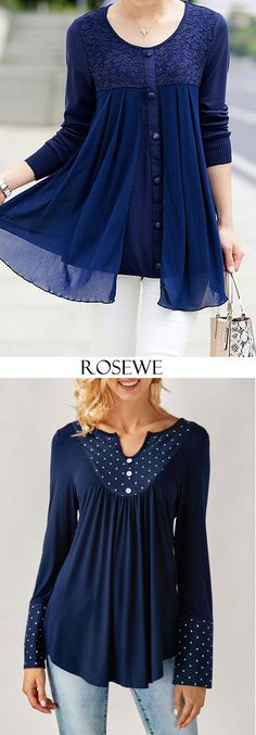 Cute navy blue tops for women at Rosewe.com, free shipping worldwide, check it out.