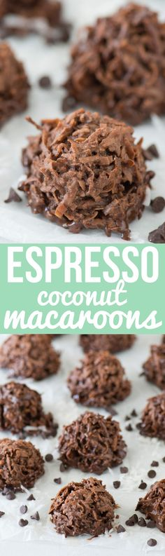 Delicious and chewy espresso coconut macaroons! Naturally gluten free dessert, espresso coconut cookie.