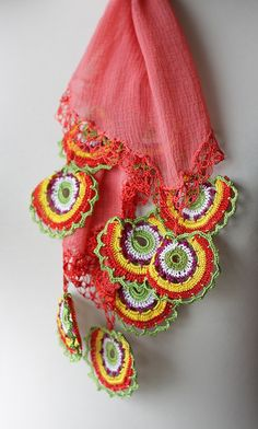 No pattern, and this is actually no longer available in soStyle 's Etsy store, but this is so inspirational. I think that it shows you how you can embellish things with crochet to create absolute works of art!