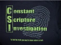C.S.I. Christian T-shirt is a funny parody of a TV show that most are familiar with in America. Even the graphic is like a fingerprint! The abreviation for CSI on this shirt is: CSI - Constant Scriptu