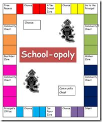School-opoly - let students make their own monopoly board Free... my tutoring kiddos have been asking for a Monopoly Game!!! I found one, now how to adapt it....