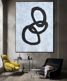 Hand Painted minimal art on canvas, minimalist painting, black and white geometrical art from CZ ART DESIGN. @CeilneZiangArt