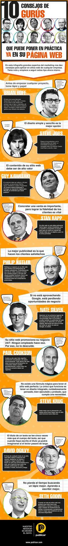 10 consejos de Gurús para tu página web #infografia #infographic  Ideas Negocios Online para www.masymejor.com