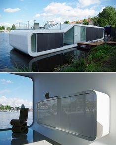 This modern-but-site-specific dutch houseboat was designed by Plus31, and even in the packed residential waterways of Amsterdam it will definitely stand out from the crowd.