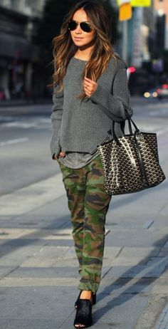 Camo Cool.  #Camo Military Pants #Gray Knit Crew-Neck Sweater #3.1 Phillip Lim Tee