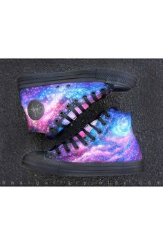 Let me paint you something! Here are custom hand painted Converse shoes with original artwork of starry galaxies over Co Galaxy Converse, Galaxy Shoes, Converse High, Converse Shoes, Studded Converse, Custom Converse, Painted Converse, Painted Shoes, Style Grunge