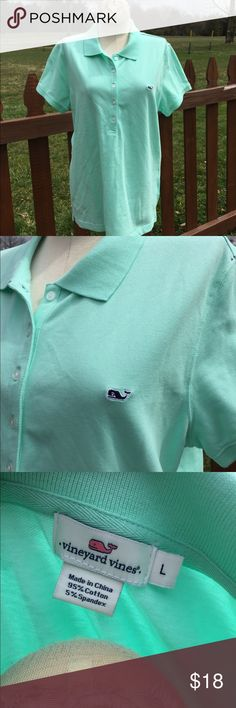 Vineyard Vines Mint Green Polo Shirt Size Large Size large. Super gently preowned.  Be sure to view the other items in our closet. We offer women's, Mens and kids items in a variety of sizes. Bundle and save!! We love reasonable offers!! Thank you for viewing our item!! Vineyard Vines Tops