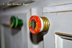 Repurpose old fuses into cabinet/drawer knobs. How creative!