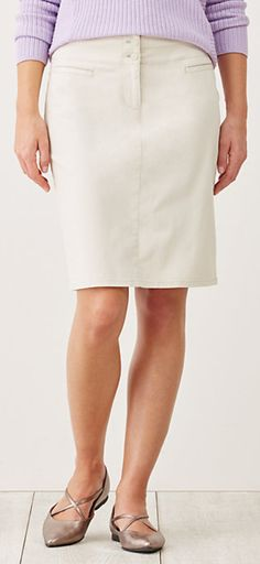 Knee Length Skirt Solid in Sea Salt (N3045E)