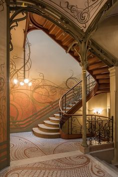 """I discard the flower and leaf but keep the stalk"" - Victor Horta Muebles Estilo Art Nouveau, Estilo Art Deco, Design Art Nouveau, Art Nouveau Interior, Architecture Art Nouveau, Art And Architecture, Escalier Art, Casa Art Deco, Art Nouveau Arquitectura"