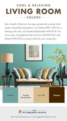 Living Room Paint Color Inspiration from PPG Pittsburgh Paints. For a cool & relaxing living room try a fresh paint color, like this aqua hue, in your living room.