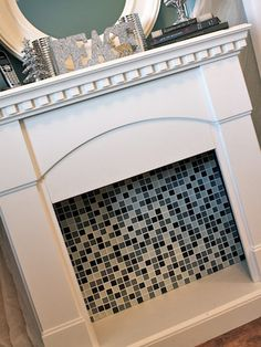 Non-Working Fireplace Decorations - Insert a Fun Tile Backsplash Empty Fireplace Ideas, Unused Fireplace, Craftsman Fireplace, Cabin Fireplace, Simple Fireplace, Fireplace Garden, Fake Fireplace, Fireplace Cover, Fireplace Mirror
