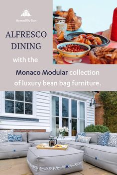 Alfresco dining with the Monaco Modular collection of luxury bean bag furniture One Pot Dishes, Serving Dishes, Moroccan Lamb Tagine, Bean Bag Furniture, Outdoor Bean Bag, Al Fresco Dining, 4 Ingredients, Casserole Dishes, Cooking Time