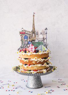 Paris Cake Topper and Confetti - The House That Lars Built Paper Cake, Diy Paper, Paper Crafts, Diy Cake Topper, Cake Toppers, Bolo Paris, Santa Marina, Paris Cakes, Bastille Day
