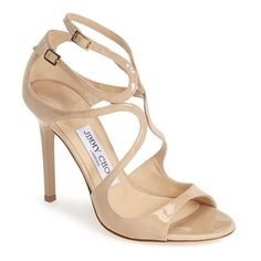 Women's Jimmy Choo 'Lang' Sandal (19 700 UAH) ❤ liked on Polyvore featuring shoes, sandals, heels, jimmy choo, nude, nude shoes, jimmy choo sandals, nude heeled sandals, strap heel sandals and strap sandals