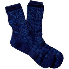 SmartWool Lily Pond Pointelle Wool Blend Crew Socks (17 NZD) ❤ liked on Polyvore featuring intimates, hosiery, socks, ink, wicking socks, moisture wicking socks, crew socks, sweat wicking socks and crew length socks