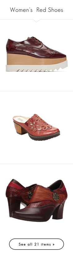"""Women's  Red Shoes"" by eternalfeatherfilm on Polyvore featuring shoes, oxfords, flats, burgundy, wood platform shoes, burgundy flat shoes, platform oxfords, flat shoes, square toe shoes and clogs"