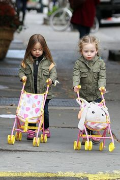 The adorable twins of Matthew Broderick and Sarah Jessica Parker, Marion and Tabitha Broderick enjoy a playdate in New York City.