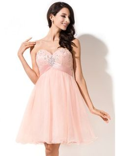 Empire Sweetheart Short/Mini Tulle Charmeuse Lace Homecoming Dress With Beading Sequins Bow(s)