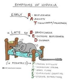 Symptoms Of Hypoxia by Nursing Education Consultants. Wonderful visual cartoon with mnemonic to assist in memorization.