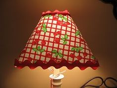 Cherry lamp shade...i'm in love with the red rick-rack...so cute!  LOL I love rick rack too as it is a funny word and so squiggly....I love it on aprons too...@GrannyB's Cottage