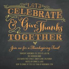 Give Thanks Together - Thanksgiving Party Invitations in Mango | Design Collective: I like the lettering