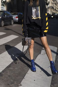 Aimee Song Of #Style Paris #Fashion Week Off White Hoodie Louis Vuitton Skirt #Shoes