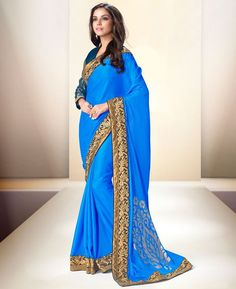 Buy Good Looking Blue Party Wear Saree online at  https://www.a1designerwear.com/good-looking-blue-party-wear-sarees-2  Price: $57.29 USD