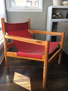 Michel Arnoult Roxinho Chair Mid Century Modern Sling Safari Maple Red Canvas  #afflink When you click on links to various merchants on this site and make a purchase this can result in this site earning a commission. Affiliate programs and affiliations include but are not limited to the eBay Partner Network. Mid Century Chair, Mid-century Modern, Safari, Room Ideas, Living Room, Canvas, Wood, Ebay, Furniture