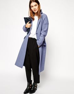 ASOS Coat In Maxi Length Boiled Wool