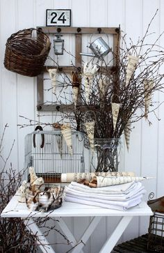 Outside Décor. Outside Patio Garden Whitewashed Cottage Chippy Shabby chic French country Rustic Swedish Decor Idea. ***Pinned by oldattic***.