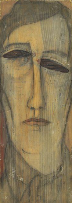 """Amedeo Modigliani (Italian, 1884-1920), Autoportrait [Self-portrait], 1919. Oil on board, 52 x 18.5 cm. """""""