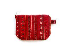 Mini zipper pouch/ small credit card holder/ gift card/ coin purse / mini wallet/ zipper organizer/ cute red