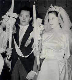 Wedding of Princess Marie Louise of Bulgaria (daughter of King Boris and Queen Giovanni of Bulgaria) and her first husband Prince Karl of Leiningen in 1957.
