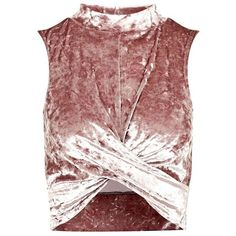 Women's Topshop Velvet Crop Top ($35) ❤ liked on Polyvore featuring tops, shirts, crop tops, criss cross crop top, red crop top, mock neck top, criss cross top and criss-cross crop tops