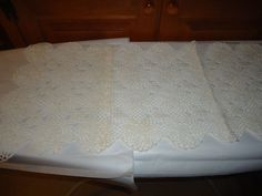 """Vintage 1960's Hand Crafted Dresser/Vanity Doily.  29"""" X 13.50"""".  Off White."""
