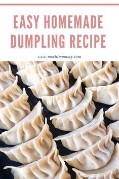 Easy Chinese or Japanese dumpling recipe Homemade Dumplings, Veggie Dumplings Recipe, Asian Dumpling Recipe, How To Make Dumplings, Vegetable Dumplings, Steamed Dumplings, Chicken Dumplings, Japanese Dumplings, Asian Cooking