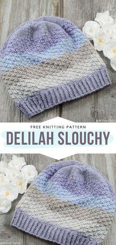 Knit Slouchy Hat Pattern, Easy Sweater Knitting Patterns, Beanie Pattern Free, Free Knitting, Knitting Designs, Baby Knitting, Crochet Patterns, Chucky, Knit Crochet