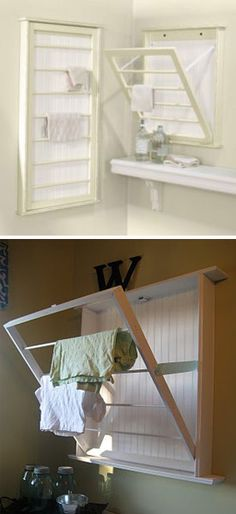 Make your own almost-identical version of this Ballard Designs fold-down drying rack. | 35 Money-Saving Home Decor Knock-Offs