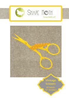 Vintage scissors paper piecing PP pdf pattern