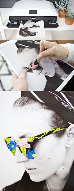 Decoração com fotos e linhas de bordar.