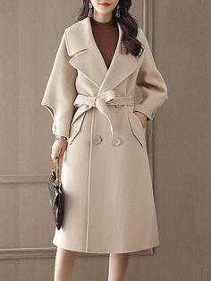 #BerryLook - #berrylook Lapel Double Breasted Belt Plain Longline Woolen Coat - AdoreWe.com